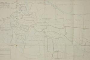 65/5898   [Brabant]. Kaart Figuratief Der langstraatse innundatie, strekke